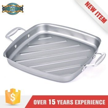 Heat Resistance Stainless Steel Pre-Seasoned Cast Iron Square Grill Tray Kitchen Art Pan