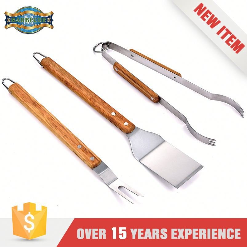 Factory Price Bbq Grilling Wooden Handle Grill Tool Sets