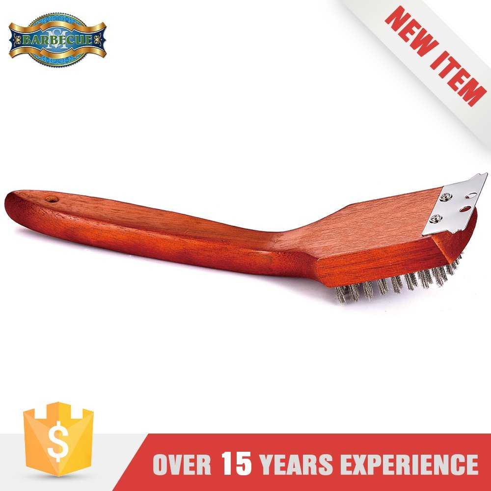New Arrival Product Bbq Tool Wooden Flat Handle Straight Brush