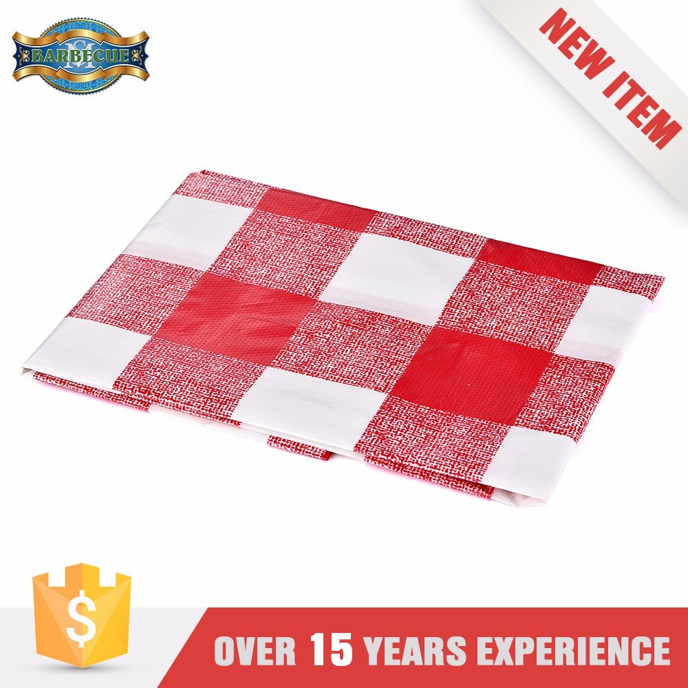 Hot Sales Exceptional Quality Pvc Tablecloth Red Printed Square