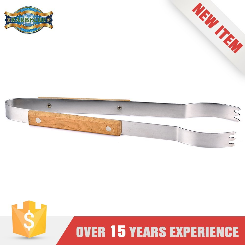 Luxury Quality Bbq Grill Tool Round Bar Food Clamp With Wooden Handle