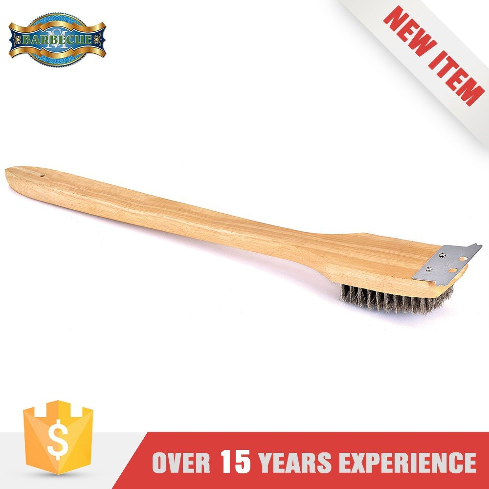 Wood Handle Stainless Bristle Grill Cleaning Brush