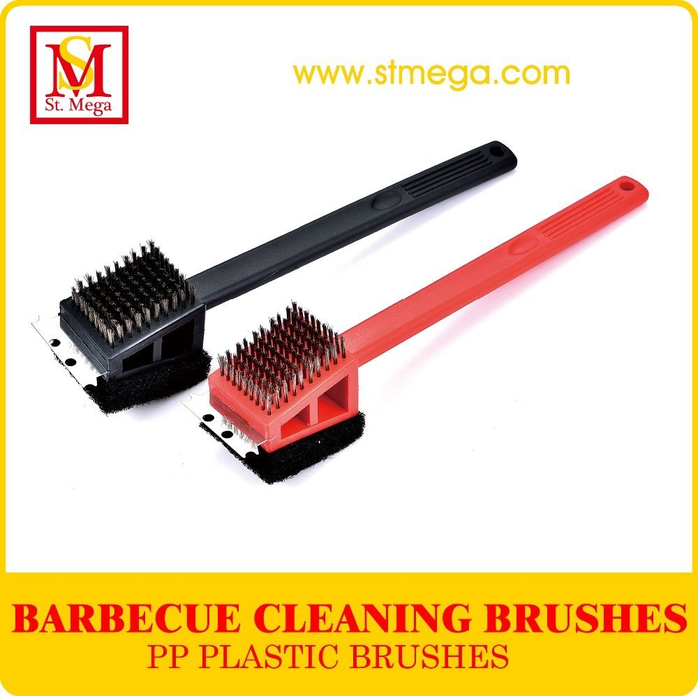 Practical 3-in-1 PP Plastic Handle Grill Cleaning Brush