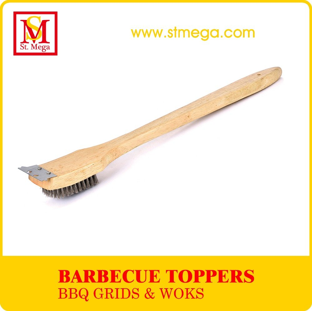 Multifunction Wood Handle Stainless Bristle Grill Cleaning Brush