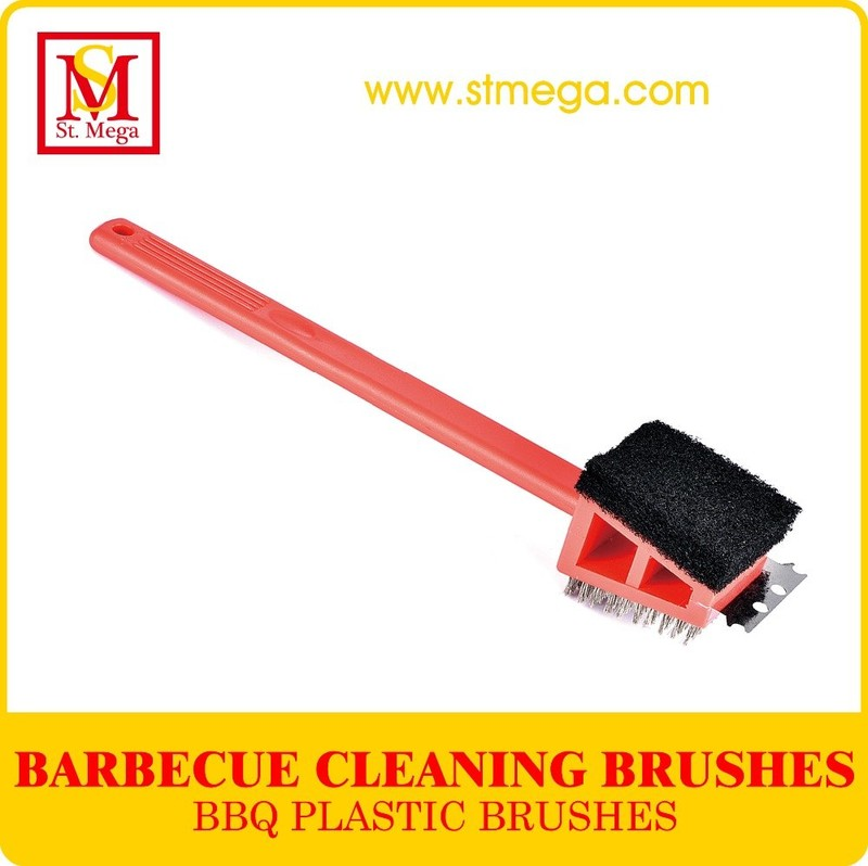 Practical 3-in-1 Plastic BBQ Grill Cleaning Brush