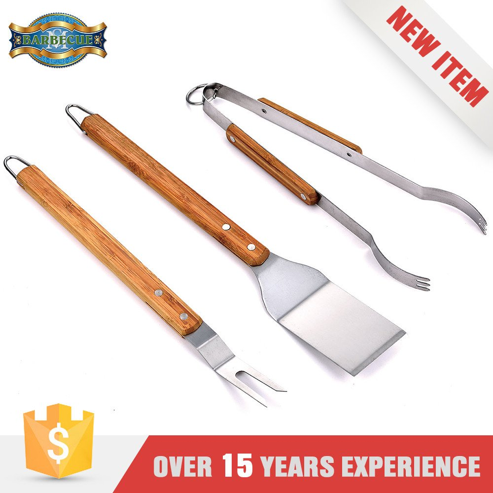 Exceptional Quality Wooden Handle Barbecue Bbq Grill Tool Set
